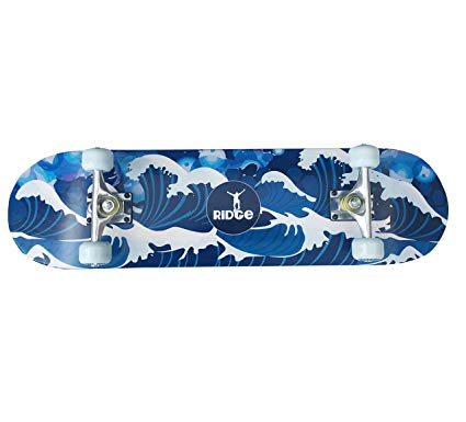 Ridge Skateboards Concave Skateboard - Sylised Ridge Graphic Underside, 32 Inch Board