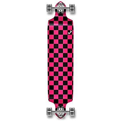 Yocaher Checker graphic Professional Speed Drop Down Stained Complete Longboard