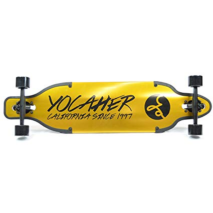 Yocaher Aluminum Drop Through Complete longboard - Gold and Black - 36 inch boards