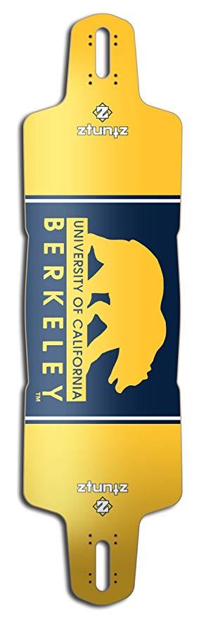 ZtuntZ Skateboards UC Berkeley Glider Longboard Deck, 10 x 38-Inch/30-Inch WB, Blue/Gold/White