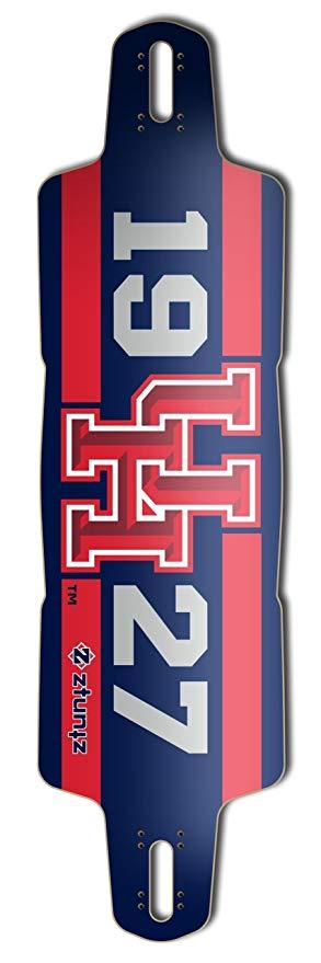 ZtuntZ Skateboards University of Houston Glider Longboard Deck, 10 x 38-Inch/30-Inch WB, Blue/Gold/White