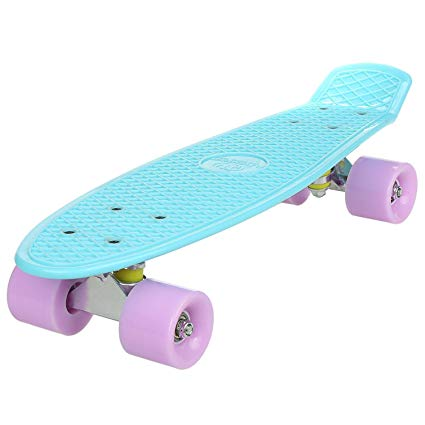 Hindom 22/42 Inch Classic Mini Skateboard, 70's Cruiser Retro Style Plastic Skate Board for Teens Kids (US STOCK)